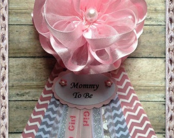 Pink Chevron Mommy to Be Corsage Pink & Grey Chevron Theme Baby Shower Corsage It's a Girl Mommy To Be Corsage