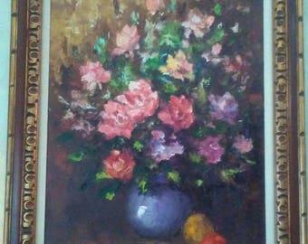 Original floral still life oil painting on canvas