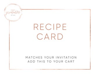 Matching Recipe Card, Recipe Card, Bridal Shower Invitation, Bridal Shower, Printable Recipe Cards, Trendy Printables, Custom Invitations