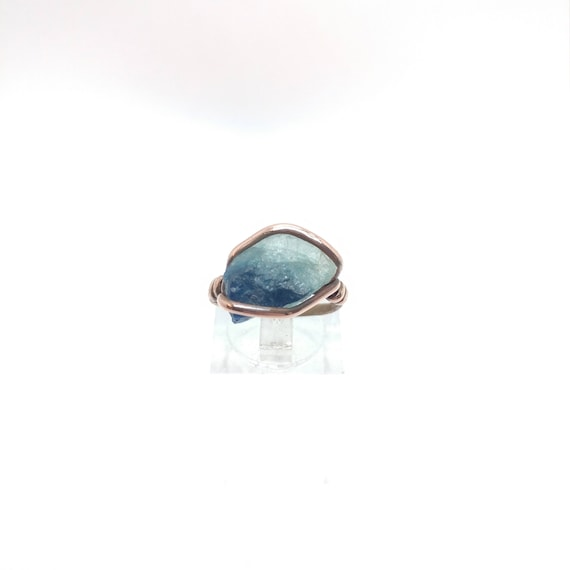 Rustic Womens Ring | Raw Tourmaline Ring | Copper Ring Sz 6.5 | Rough Tourmaline Ring | Rustic Ring | Blue Tourmaline Crystal Ring