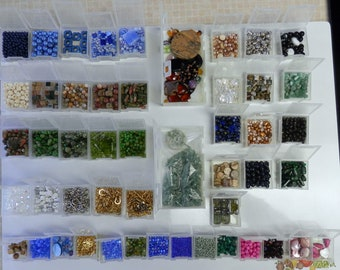 Large quantity mixed lot of beads with storage container included