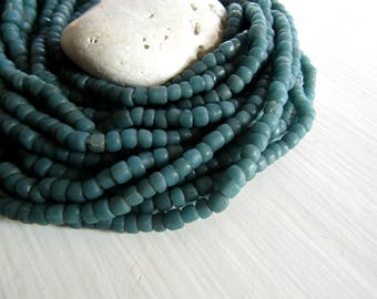 small matte green bead, dark green glass bead, irregular barrel tube spacer, New Indo-pacific 3 to 6 mm / 22 inche strand - 7ab29-29
