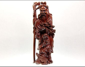 Antique 19th Century Chinese Carved Boxwood Guanyin Dragon Figure