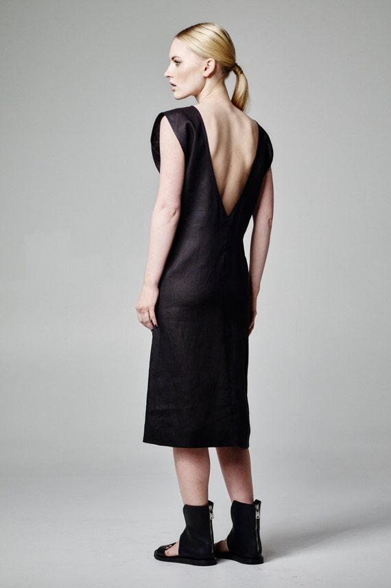 Schwarzes Leinen Kleid rückenfreies Kleid Cocktailkleid