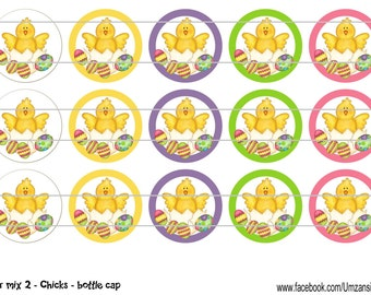 "15 Easter Mix 2 - Chicks Digital Download for 1"" Bottle Caps (4x6)"
