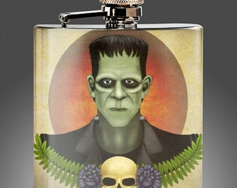 Frankenstein Whiskey Flask, Traditional Tattoo Style Gifts, Rockabilly Flasks, Monster Gift,  Stainless Steel 6 oz Liquor Hip Flask