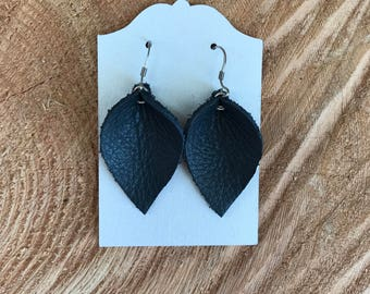 Navy Blue Leather Earrings (short)