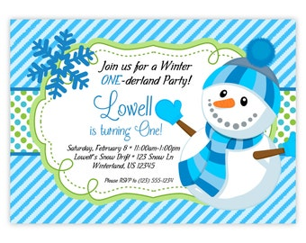Snowman Invitation - Blue Stripes, Lime Green Polka Dot, Fun Winter Boy Snowman Personalized Birthday Party Invite - Digital Printable File
