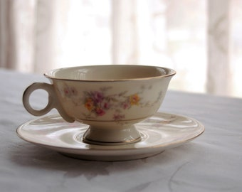 Haviland Gloria Footed Cup and Saucer