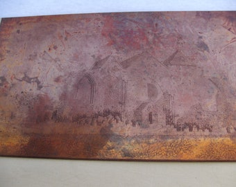 A nice old vintage copper engraving etching printers plate block of a church abbey seen