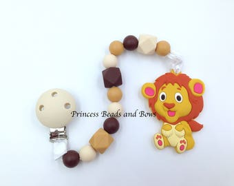 Lion Silicone Teething Toy with Pacifier Clip,  Silicone Teething Toy, Sensory Toy for Teething