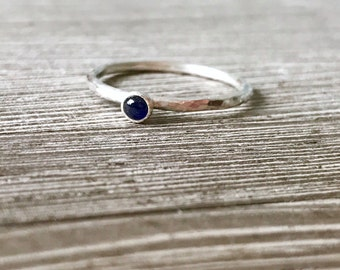Sapphire ring, blue stone stacking ring, september birthstone ring, sapphire stacking ring, blue stone stacker ring, blue gemstone ring,