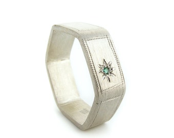 Hexagon Signet Ring Silver and Emerald