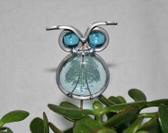Stained Glass Aqua Blue Owl Plant Stake, Garden Art