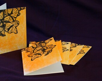 Monarch Butterfly Blank Greeting Cards with Envelopes, Set of 6