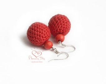 Red LINEN EARRINGS. Dangle Red Crochet Ball Earrings. Crochet bead/ ball Jewelry. Valentine's Day gift. Red pink beads, Natural Earrings