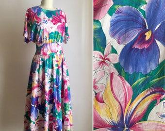 SALE vintage cotton sundress L ~ 80s tropical floral dress