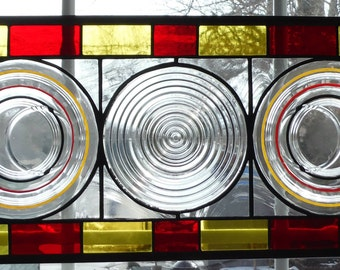 Sidelight, Transom or Valance  Bold and Beautiful Banded Ring Depression Era Plates Set into Stained Glass