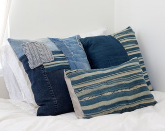 """Anuk Stripe Pillow Vintage SALE // Indigo African Mud Cloth Textile 21""""x12"""" Cover Only"""