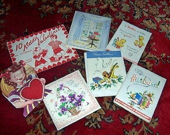 Vintage Greeting card LOT 1950s Birthday Spring holidays for crafting or not