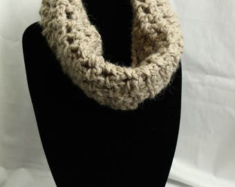 Cozy Crocheted Cowl in Taupe
