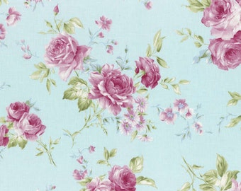 Rococo Sweet 2015 Roses on Blue Cotton Fabric Lecien 31137-70
