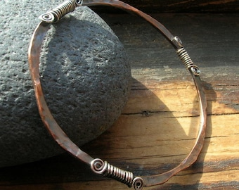 Custom Copper Hammered and Formed Bangle  with sterling silver wire wrapped detail, average-large size