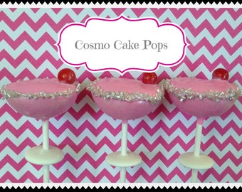 12 Pink Cosmo Cosmopolitan Cake Pops Bachelorette Bridal Shower Favors Sweets Table Candy Buffet