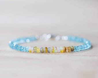 Aqua Apatite & Ethiopian Opal Bracelet, Delicate Beaded Blue Gemstone Bracelet, Ethiopian Welo Opal Jewelry, Multi Gemstone Sterling Silver