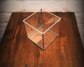 Terrarium à facettes en verre. Cube. Géométrique. Minimaliste. Photophore. Cadeau petit prix. Planter