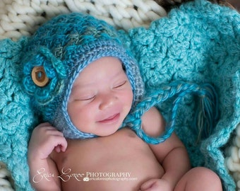 Crochet Baby Hat, Earflap Hat, Baby Girl Ear Flap Hat,  Blue, Turquoise, Baby Girl Hat, Newborn Girl Hat, MADE TO ORDER in your size request