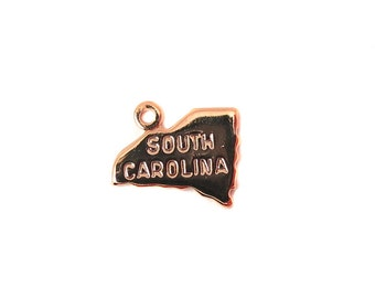 Engraved Tiny ROSE Gold Plated on Raw Brass South Carolina State Charms (2X) (A439-D)