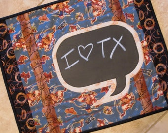 Thought Bubble Mini Quilt Chalkboard Fabric Applique Texas Western Theme Conversation Quilt