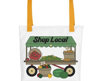 Shop Local Tote Bag, Farmers Market Tote Bag, Reusable Shopping Bag, Vegetable Stand Tote Bag, Cloth Shopping Bag, Farmers Market Tote Bag