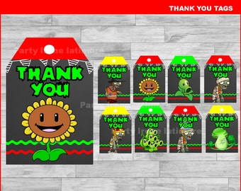 Plants vs Zombies Thank you Tags Instant download, Plants vs Zombies Chalkboard tags, Plants vs Zombies party Thank you Tags