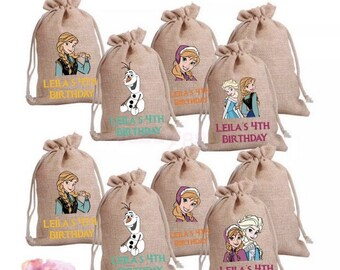 Frozen Theme Burlap Goodie Bags   Party Favors   Frozen Birthday   Sisters Forever   Princess Anna & Elsa