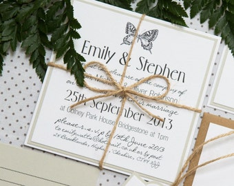 Butterfly Print Rustic Twine Wedding Invitations And Stationery