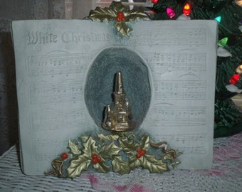 Vintage White Christmas Song Book Church Chalkware Decoration