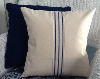 Stripe Throw Pillow. Beach House Decor. Farmhouse.