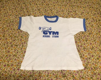 Vintage Screen Stars Ringer Tee // 1980s Novelty Tshirt // Tonis Gym Aerobic Studio // Unisex Mens Womens Size Large