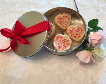 Valentine's Day Spritz Cookies in a Cookie Tin, Valentine Sugar Cookies, Valentine Heart Sugar Cookie, Nut Free Valentine Spritz Cookie