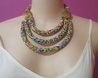 maasai necklace / tribal necklace / beaded necklace / colorful necklace / african necklace