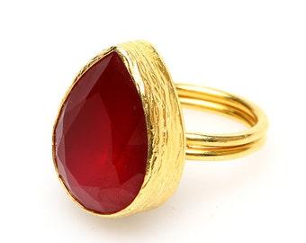 Red Tear Drop Gold Vermeil Ring