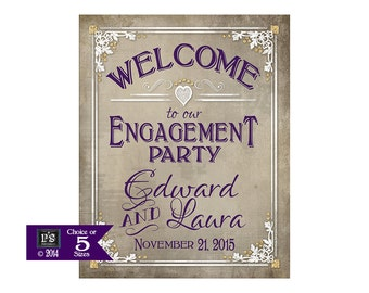 Printable Engagement Sign Poster - Personalized Welcome to our Engagement Party - DIY - choice of 5 sizes - Old Lace Collection