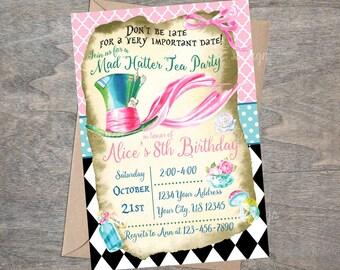 Mad Hatter Birthday Invitation | Watercolor Alice goes to Wonderland in Rabbit Hole Tea Party Printable Girl Tween Teen Invite