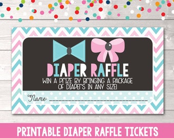 Printable Diaper Raffle Tickets Blue & Pink Bows and Chevron Stripes Gender Reveal or Gender Neutral PDF