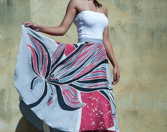 Pure silk skirt - hand painted - lucky skirt