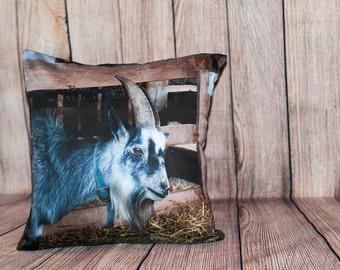 Goat Head Pillow Cover, Accent Cushion Case, Rustic Farmhouse Decor, Grey, Farmyard Animal, Gift for Farmer, Rancher, Boyfriend, Brother