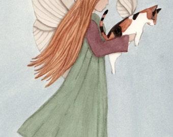 Calico cat with angel / fairy / Lynch signed print folk art