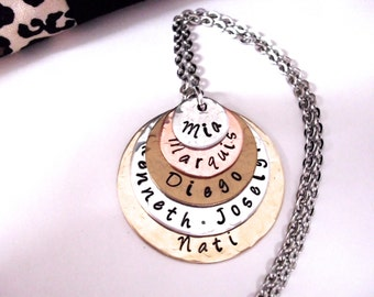 Personalized Jewelry, Mommy Necklace, Mother's Day Jewelry, Personalized Necklace, Hand Stamped Jewelry, 5 discs